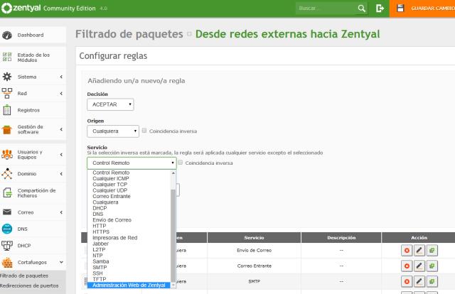 Zentyal, añadir regla de administracion web