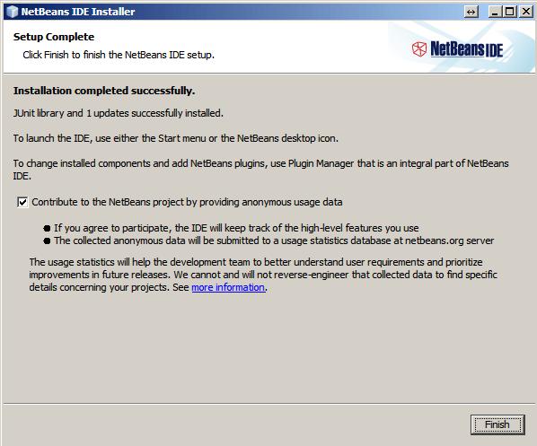 NetBeans. Final de instalacion