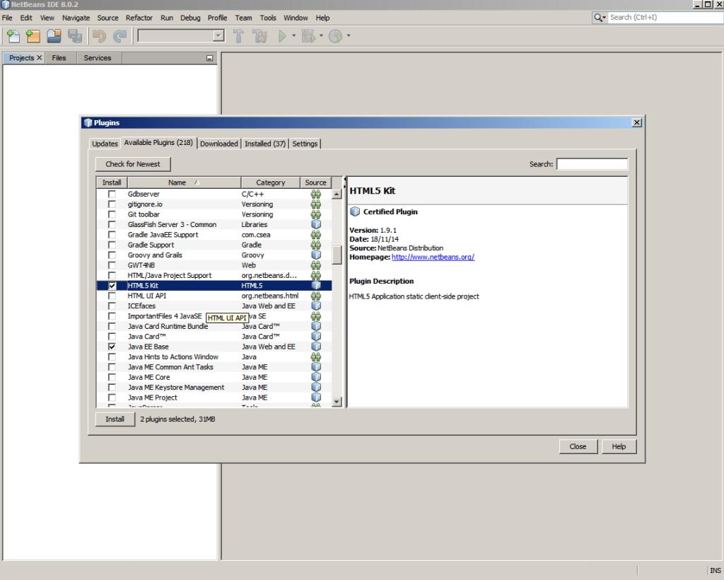 Netbeans-seleccion de plugins