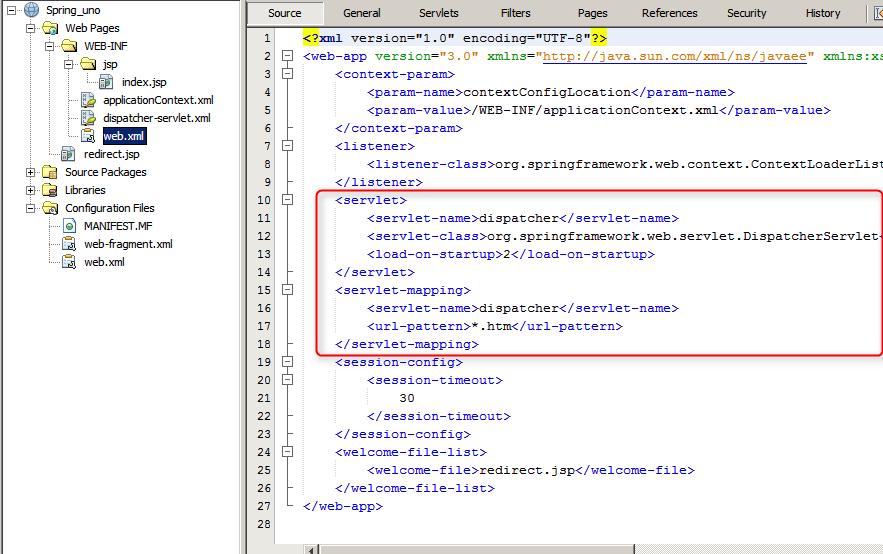 spring y Netbeans, el fichero web.xml