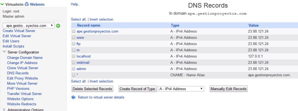 Modificacion DNS para APE