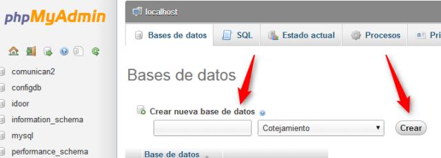crear base de datos con PHPMYADMIN