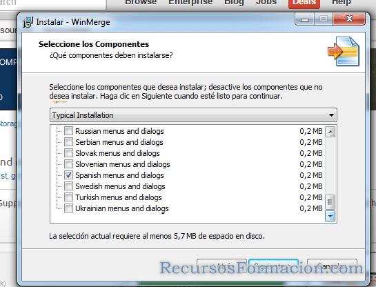 Idiomas instalacion WinMerge