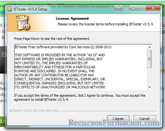 Instalando IE-Tester. Aceptar licencia