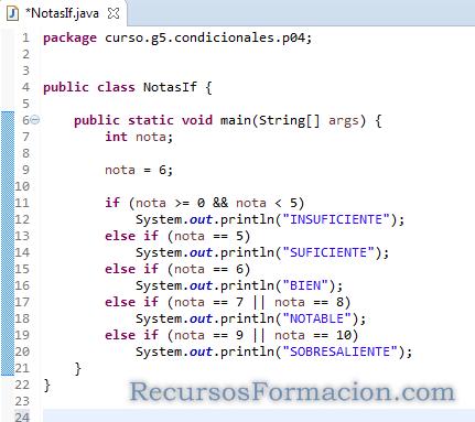Java utilizacion del if