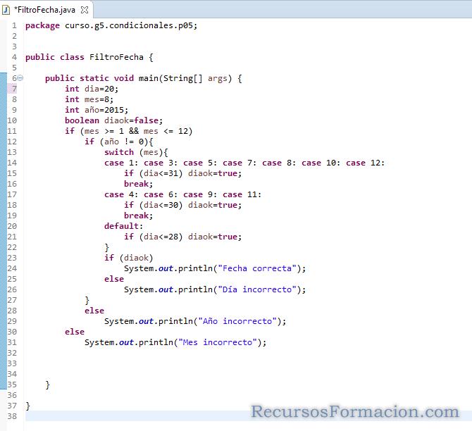 Ejercicio de java. Filtro de fecha sin utilizar array