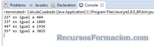 Resultado de una ejecucion de Java en Eclipse