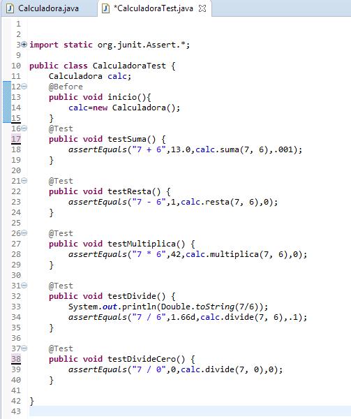 Clase de pruebas unitarias utilizando Junit. Java