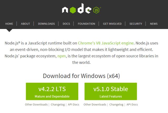 wweb para descargar NodeJS