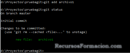 git en windows, probando add
