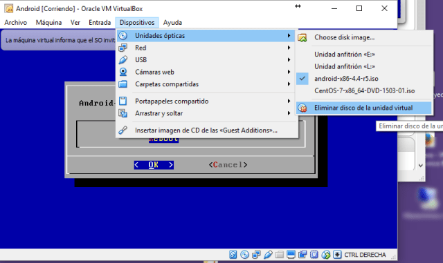 Expulsar CD virtual en VirtualBox