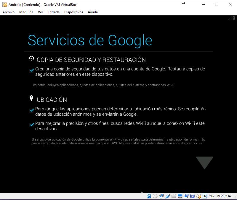 Iniciando Android en VirtualBox