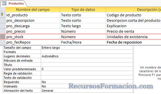Access. Definiendo pro_stock