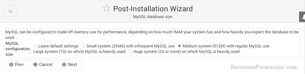 Post installation wizard-Virtualmin-MySQL-Tuning