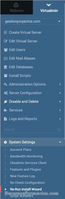Virtualmin - menu relanzamiento wizard instalacion