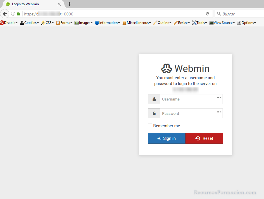Pantalla bienvenida Virtualmin