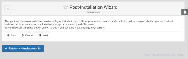 Post instalacion de virtualmin