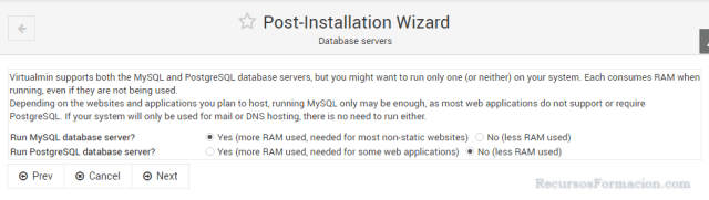 Post installation wizard-Virtualmin-MySQL/PostgreSQL
