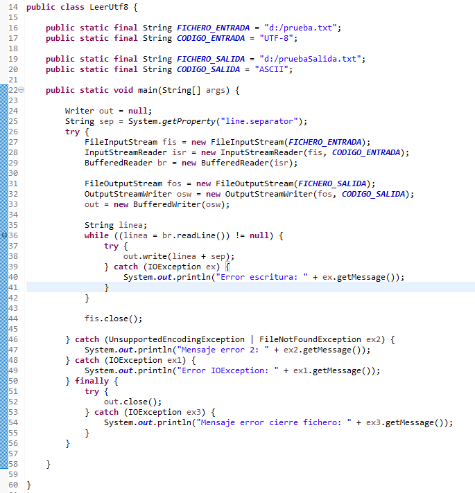 Clase cambia codificacion archivo en Java