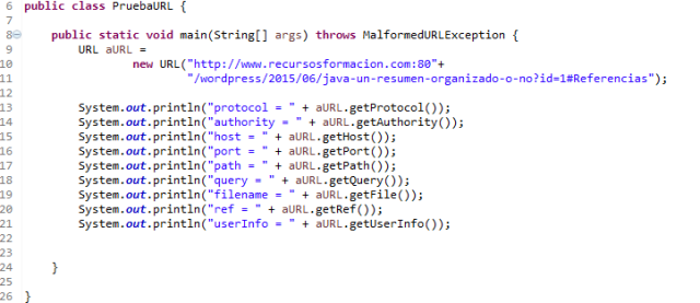 Java. Clase para probar la URL