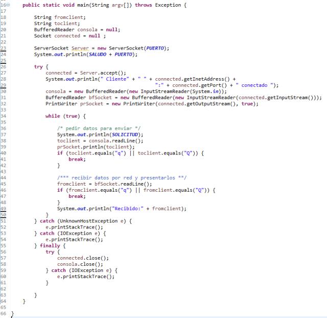 Ejemplo de servidorTCP de chat