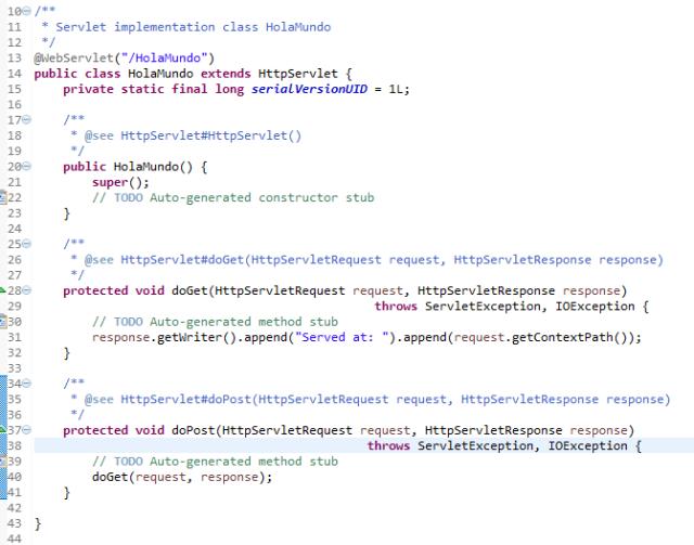 Contenido del servlet creado automaticamente por Eclipse