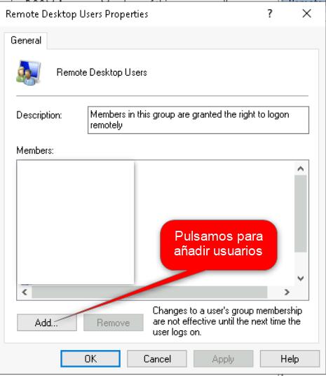 Añadir usuarios a un grupo, dando de alta registros en Guacamole
