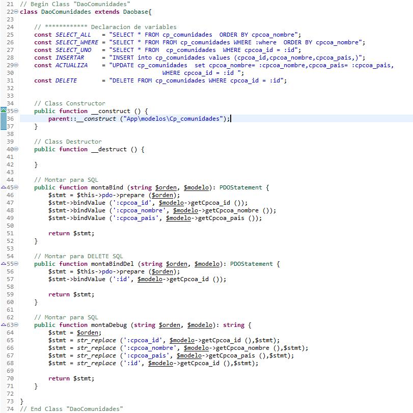 Clase de PHP para acceso DAO. Clase Hija, que extiende a DaoBase