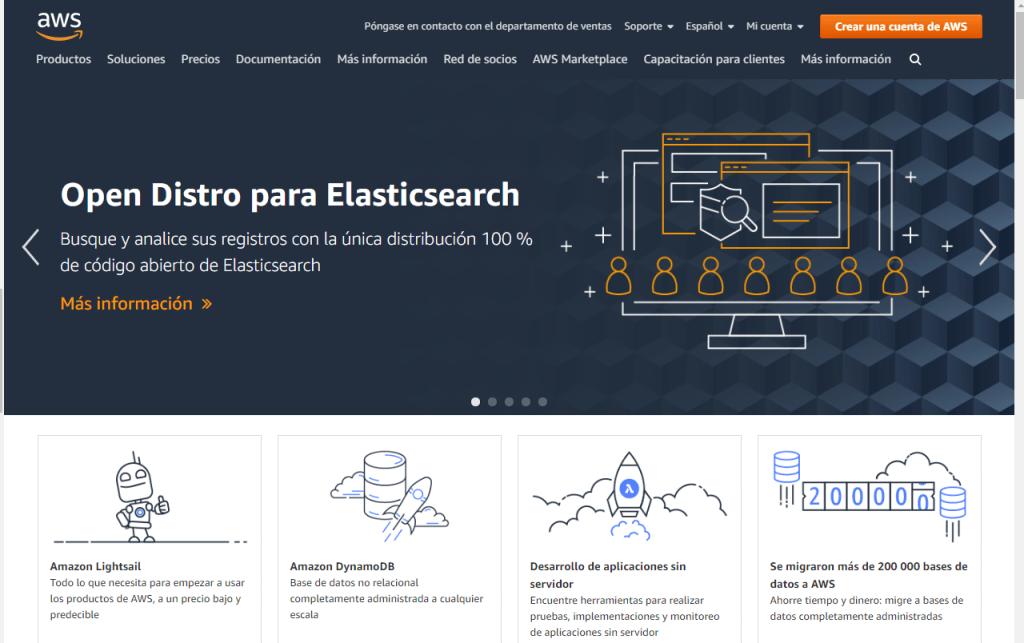 Pantalla de presentacion de AWS (Amazon Web Service)