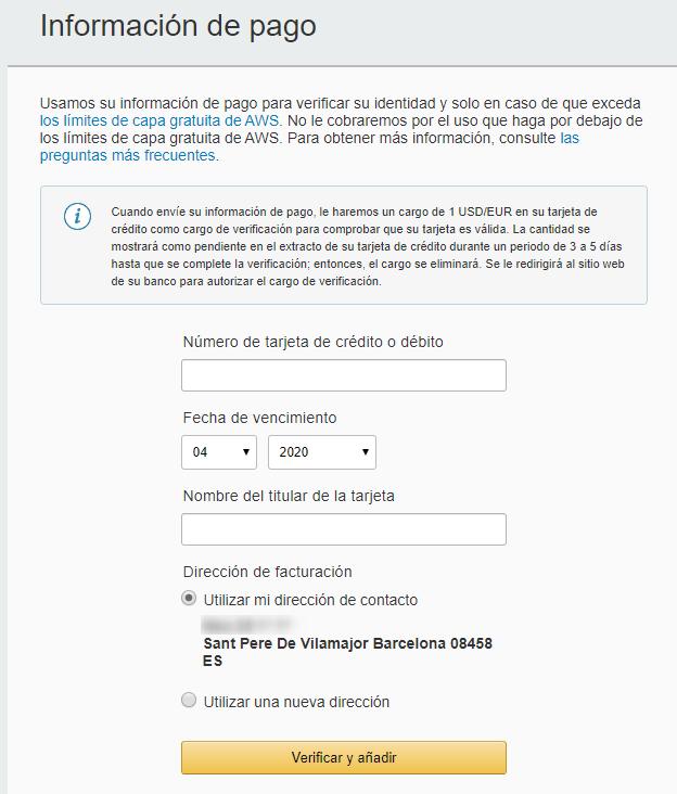 Peticion de datos de pago para la cuenta de AMAZON que estamos creando