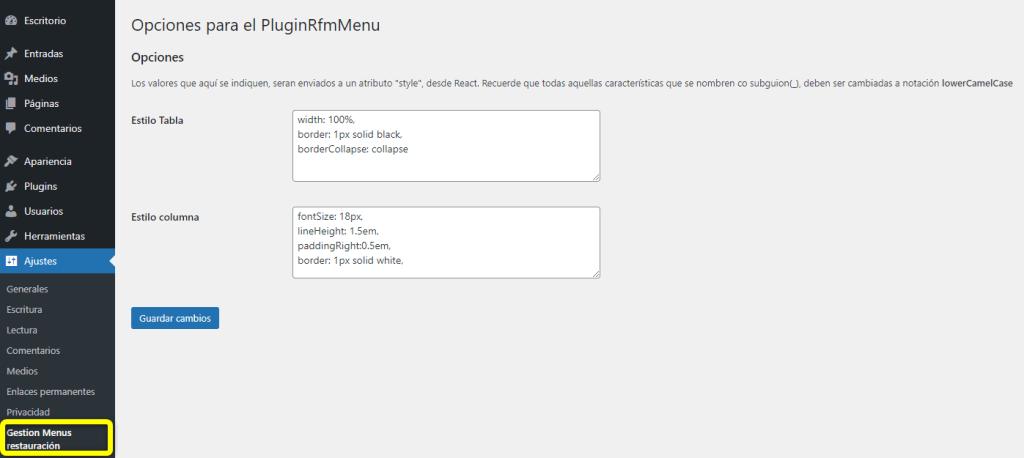 Vista de la pagina de opciones en WordPress para el menú de restauración