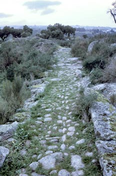 Restos de una calzada romana en Valencia de Alcántara, Cáceres