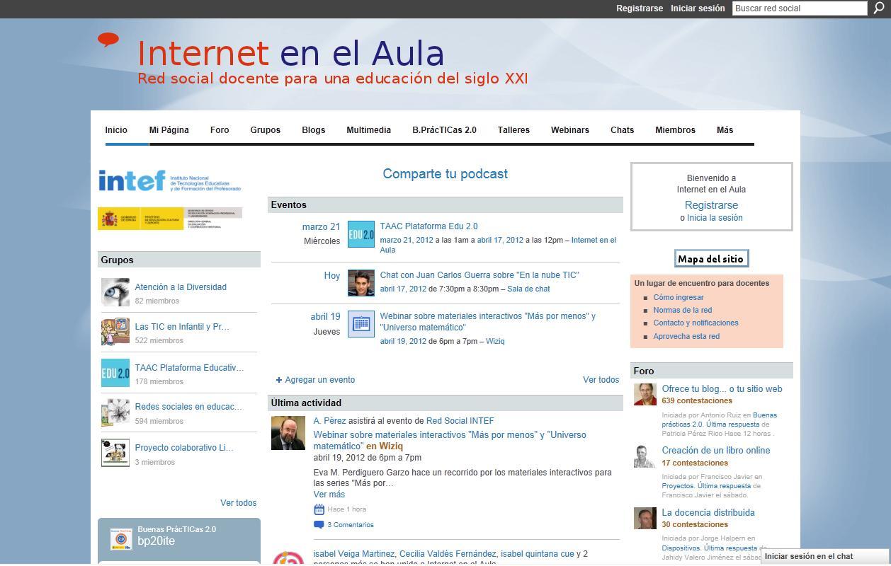 Página principal de Internet en el Aula