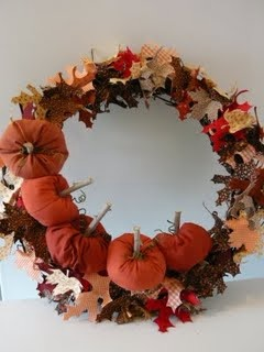 fabric pumpkin wreath