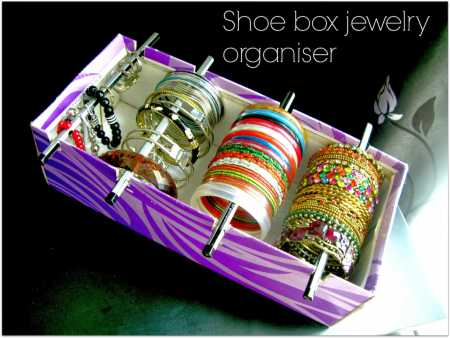 How to make a recycled shoe box jewelry organizer Recycled Crafts