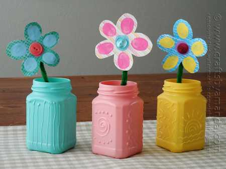 How To Make Fingerprint Flowers And Decorated Vases Recycled Crafts