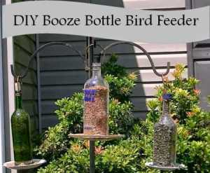 Booze Bottle Bird Feeder w caption