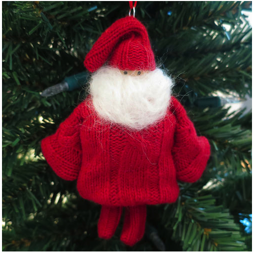 recycled sweater santa ornament