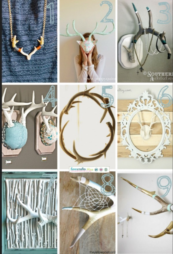9 antler themed decorating and organizing ideas