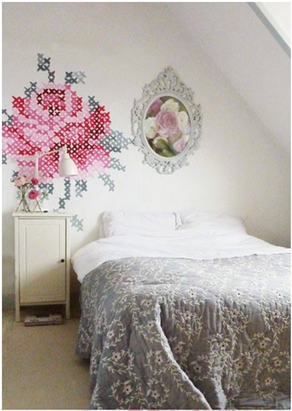 how to paint giant cross stitch on wall