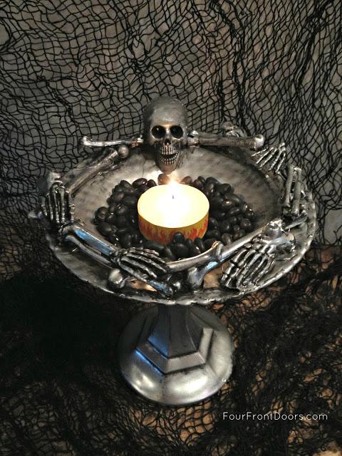 skeleton dish candle