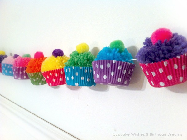 Yarn Pom Pom Cupcake Garland 2