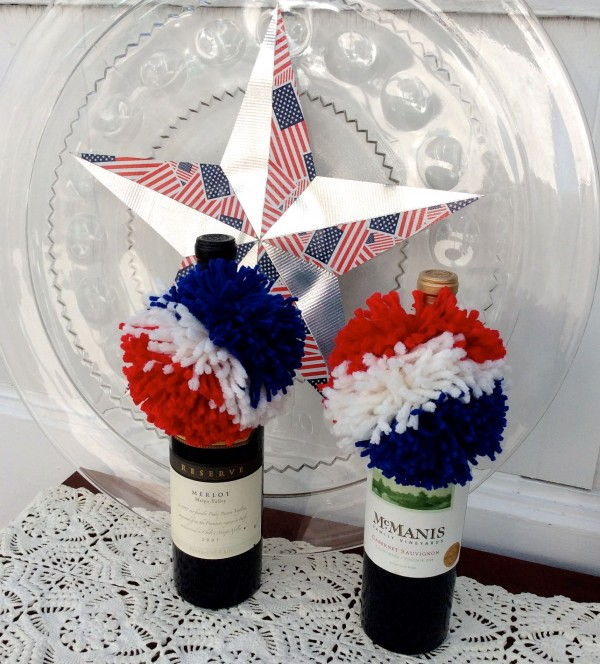 how to make a red white and blue pom pom