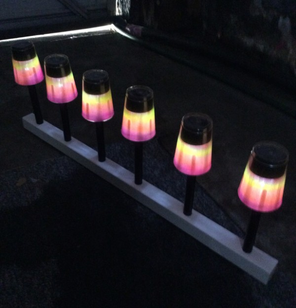 Recycled plastic cup rainbow airbrush solar lights