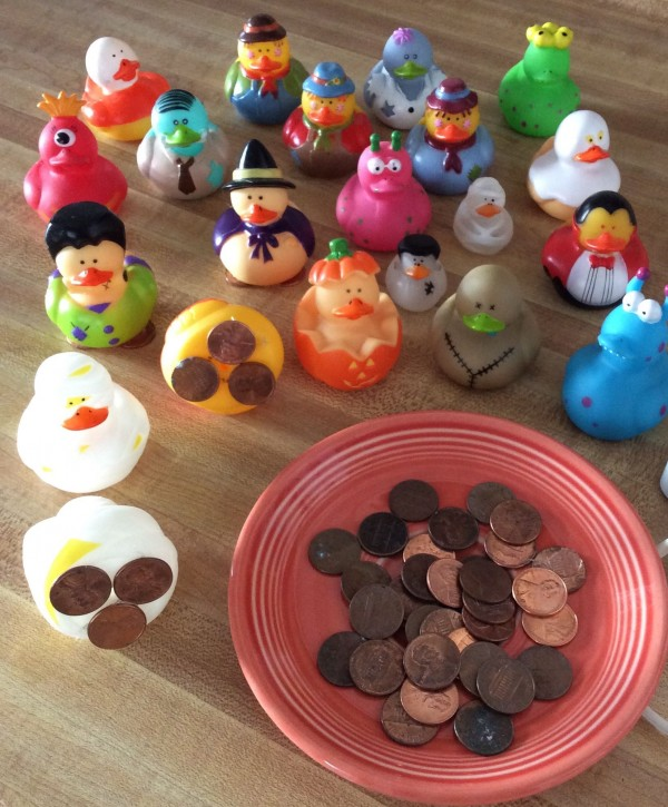weight-rubber-duckies-with-pennies-to-float