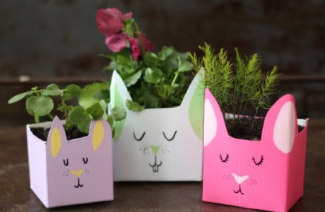 Recycled milk carton Easter Bunny planters