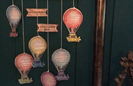 Recycled book page hot air balloon decoration