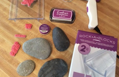 Rubber stamped and embossed word rocks collage