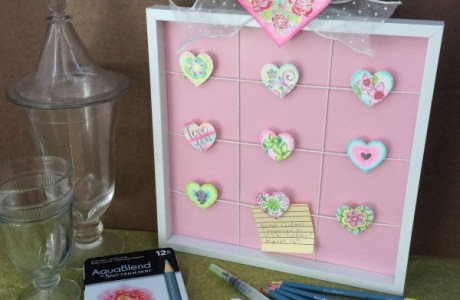 Watercolor hearts message board