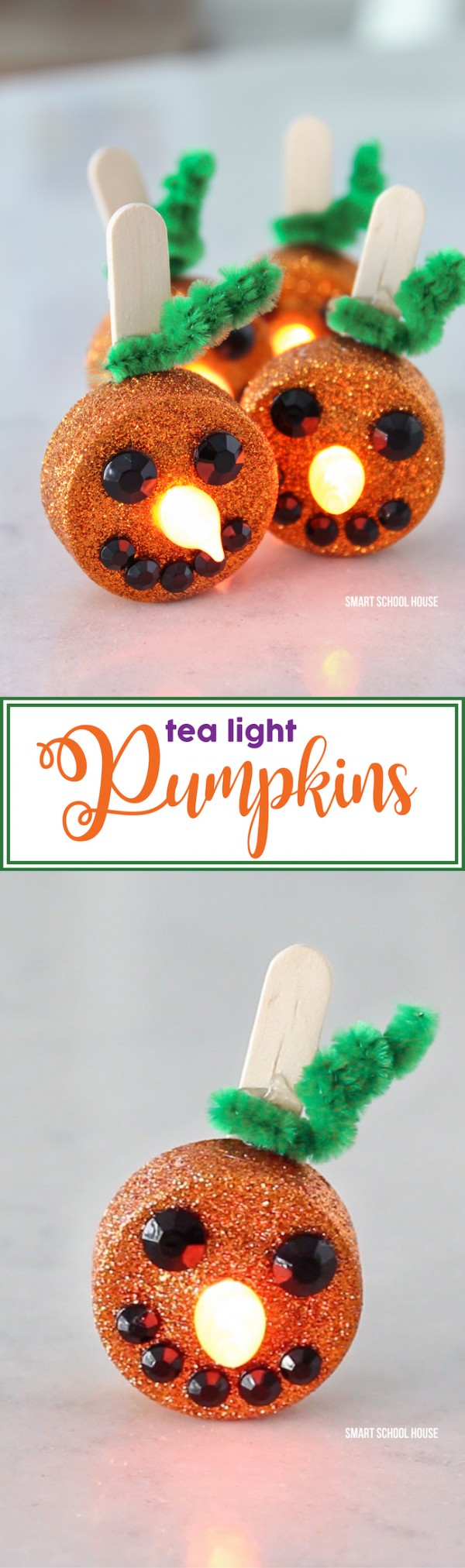 How to make tiny tea light jack-o-lanterns